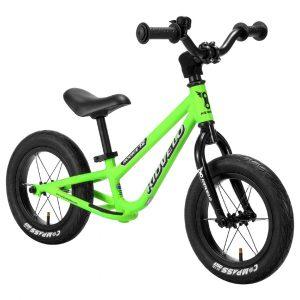 Kidvelo Rookie 12 Balance Bike Green Front Angle Hero