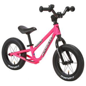 Kidvelo Rookie 12 Balance Bike Pink Front Angle Hero